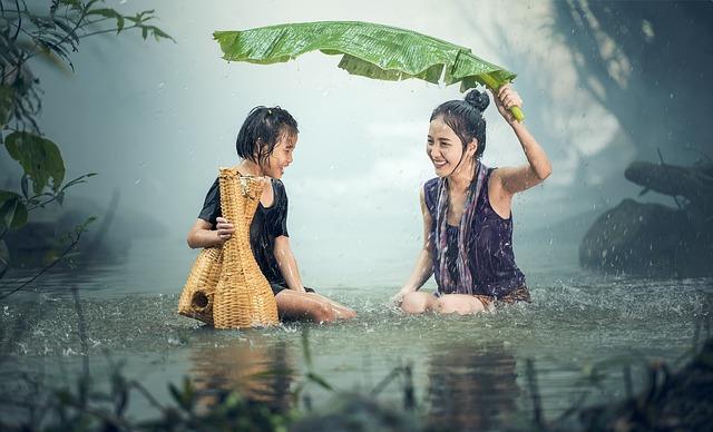 děti, déšť