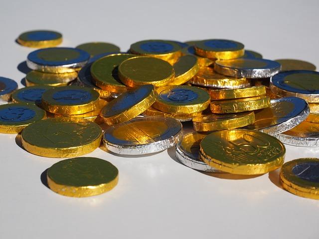 čokoládové peníze, euro centy